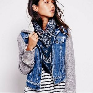 Free People Denim Sweatshirt Sleeve Jean Jacket S